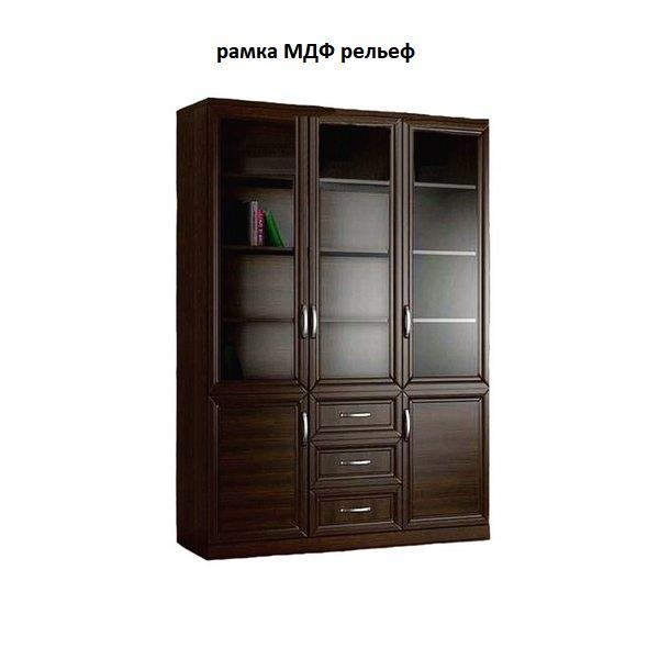Шкаф книжный 3№6 рамка МДФ (рельеф)