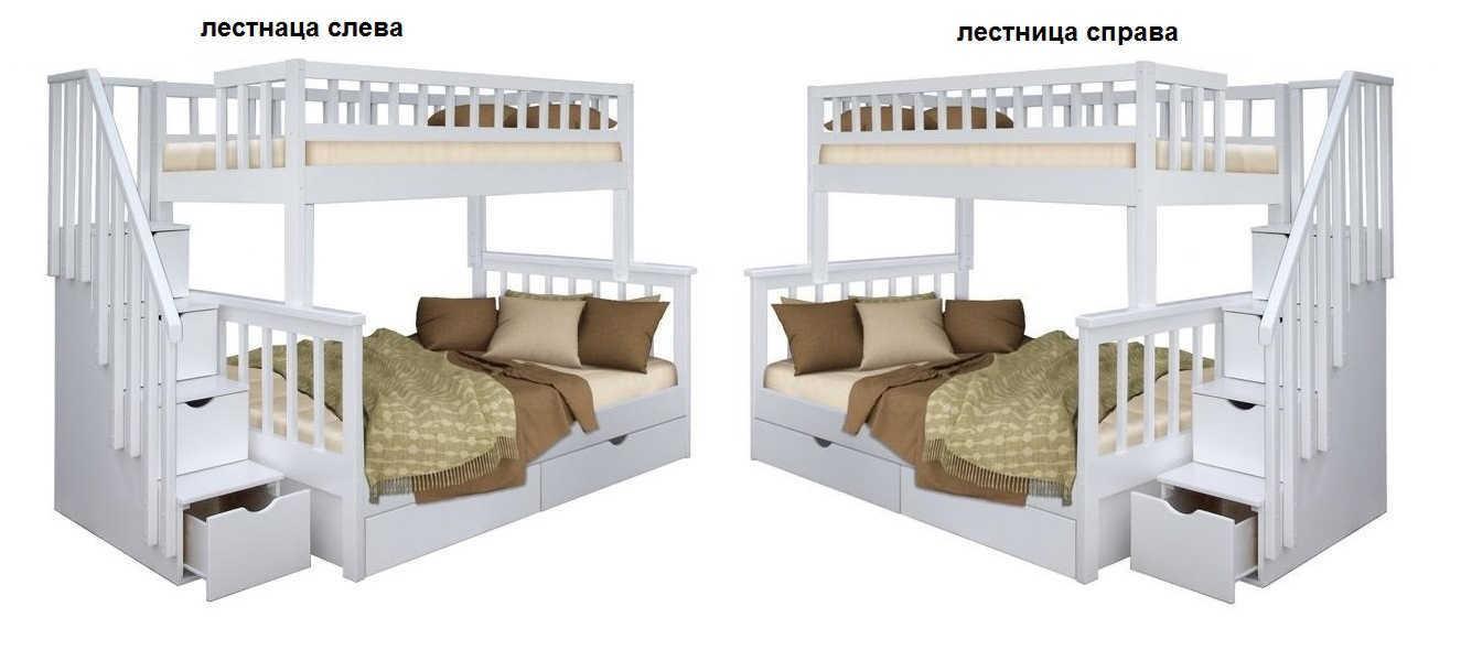 Кровать Лейла 2-х ярусная лестница слева или справа