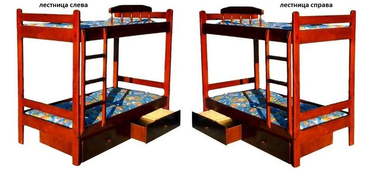 Кровать Буратино (2-х ярусная) лестница слева или справа