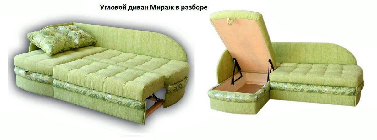 Угловой диван Мираж в разборе