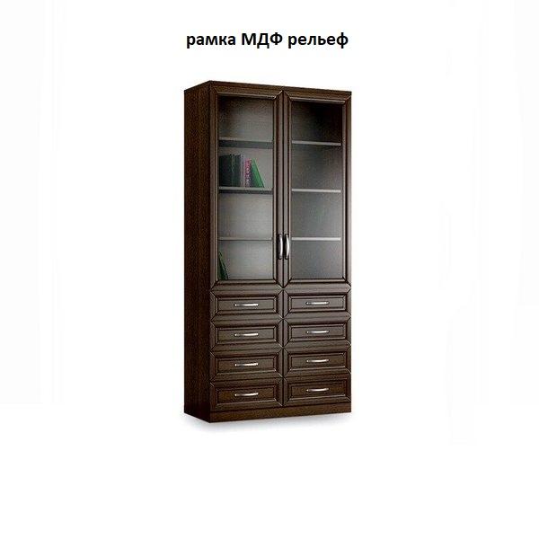 Шкаф книжный 2№6 рамка МДФ (рельеф)