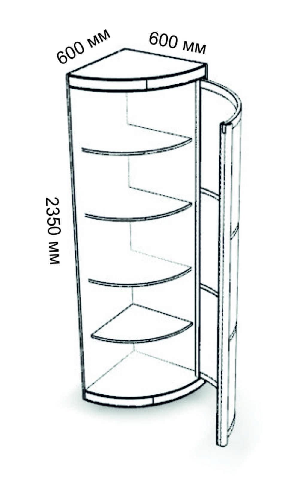 Угловой элемент с дверкой 600х600 полки / корпусная мебель /.