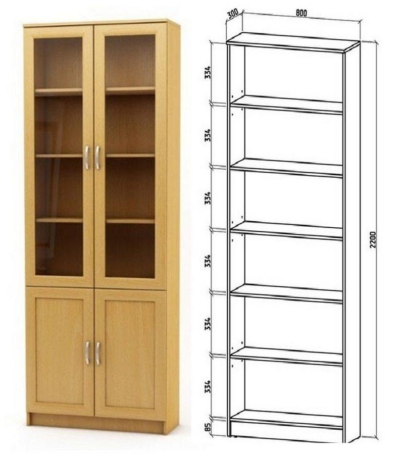 Шкаф книжный Верона 2А схема с размерами