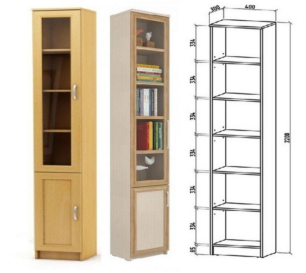 Шкаф книжный Верона 1А схема с размерами