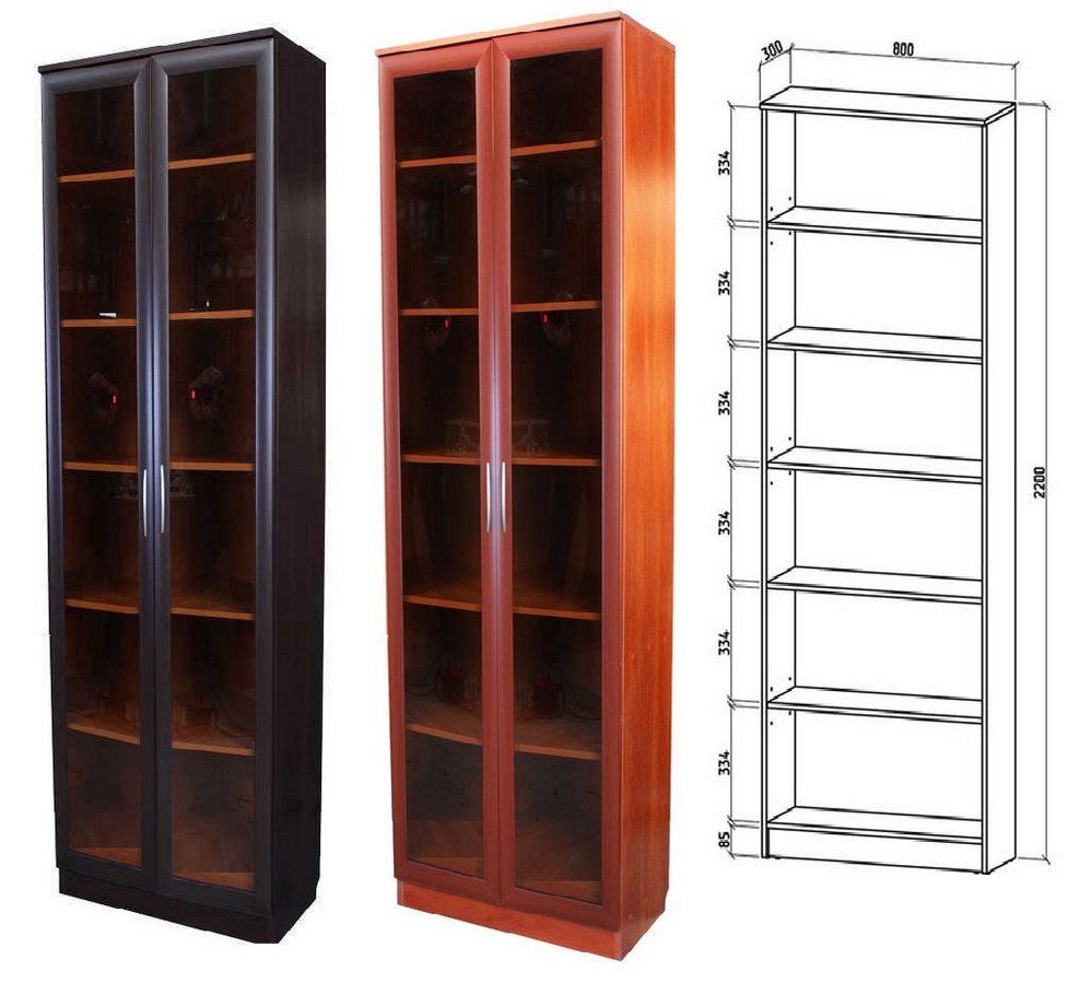 Шкаф книжный Верона 2 схема с размерами