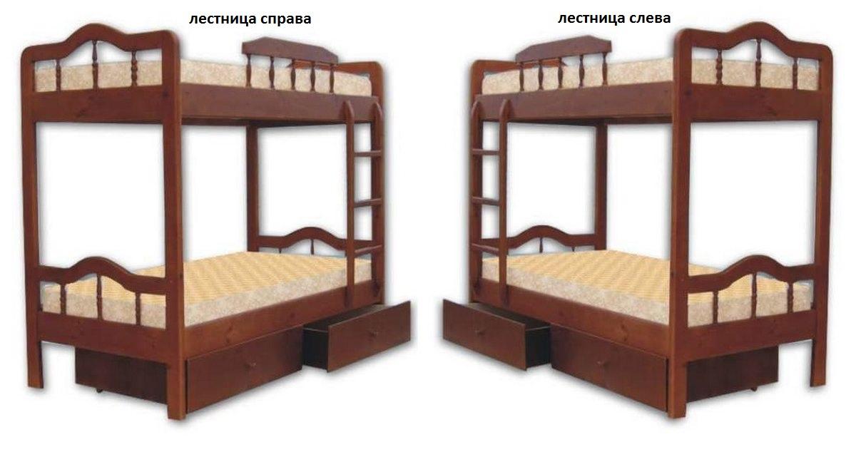 Кровать Мальвина (2-х ярусная) лестнице слева или справа