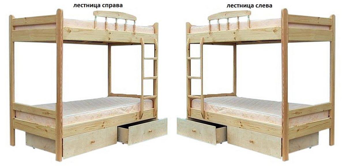 Кровать Буратино (2-х ярусная) натуральная сосна
