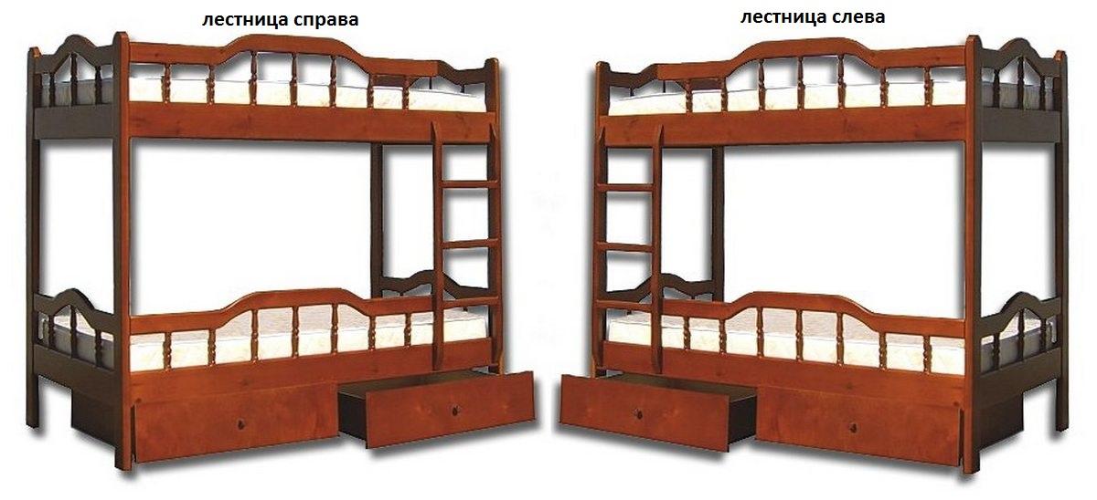 Кровать Джери (2-х ярусная) лестница слева или справа
