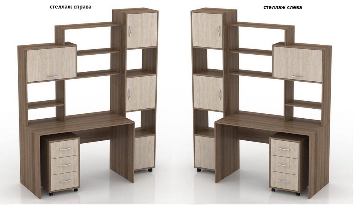 Компьютерный стол Мебелинк 100-04 стеллаж слева или справа