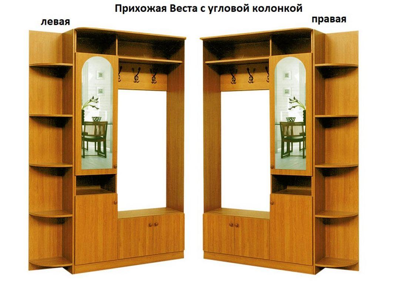 Прихожая Веста с угловой колонкой слева или справа