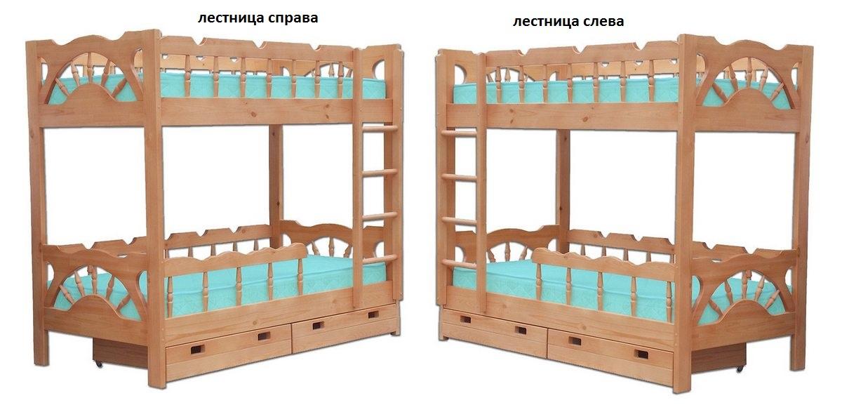 Кровать Адмирал (2-х ярусная) лестница слева или справа