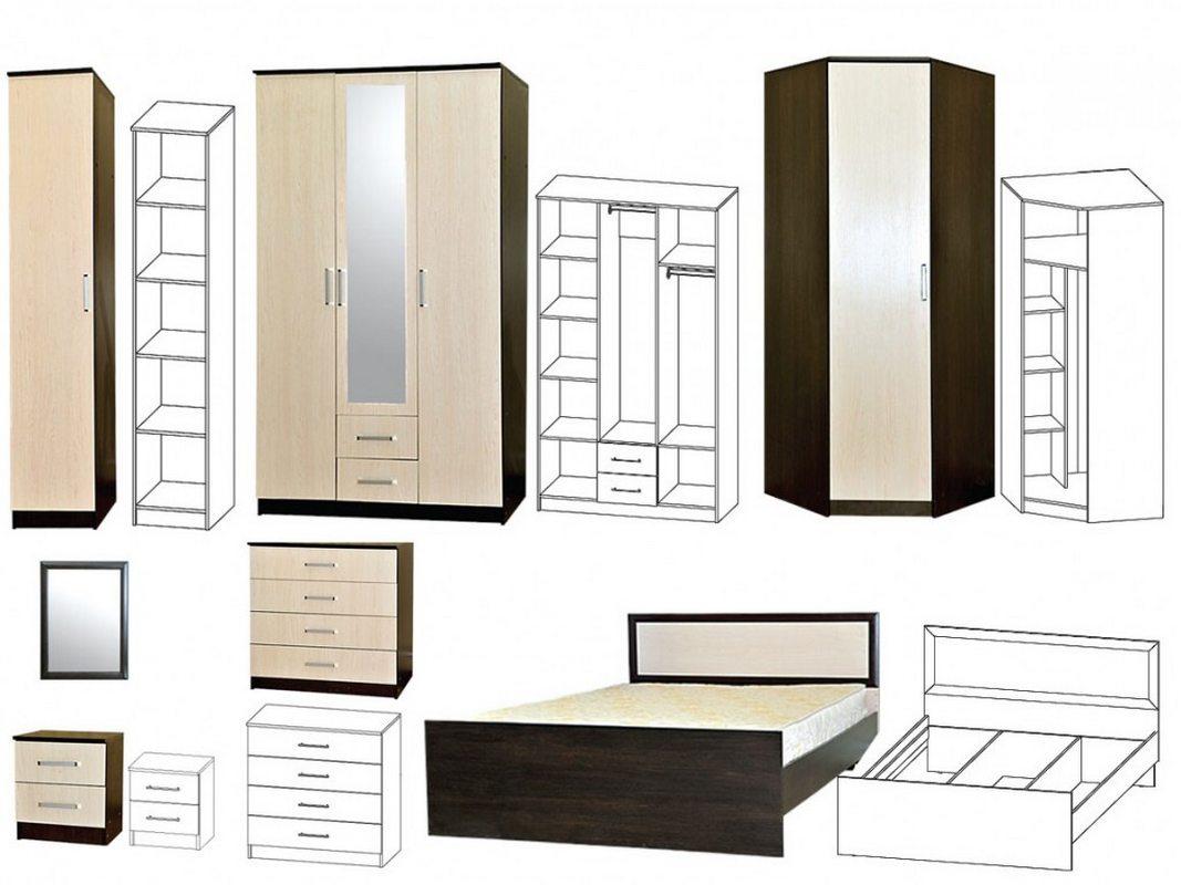 Спальня Мега-3 модули внутреннее наполнение