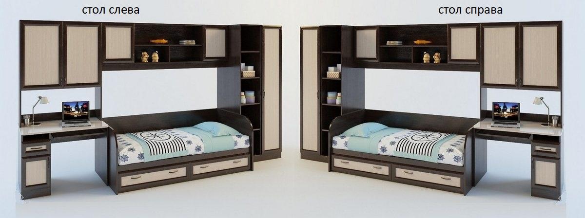 Детская стенка Белоснежка-2 ВМ стол слева или справа