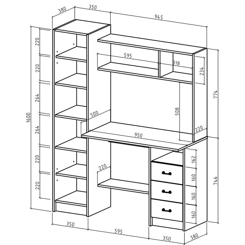 схема компьютерного стола