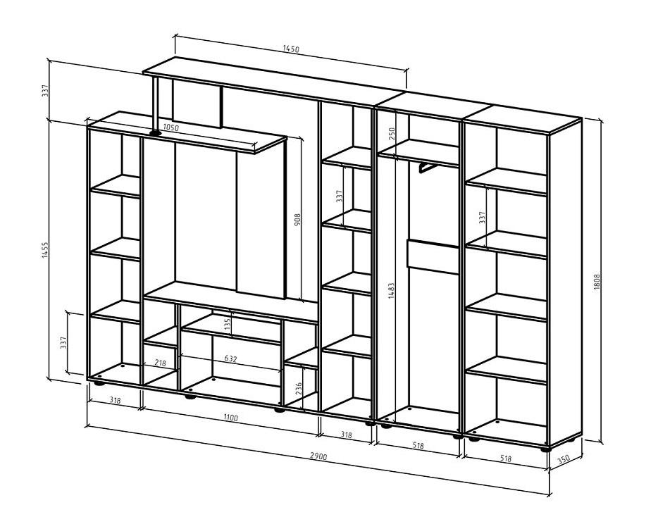 Стенка Остин-5 и 6 схема с размерами