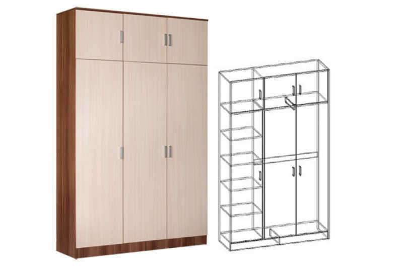 шкаф 3-х створчатый комбинированный