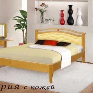 Двуспальная кровать Ария (кожа)