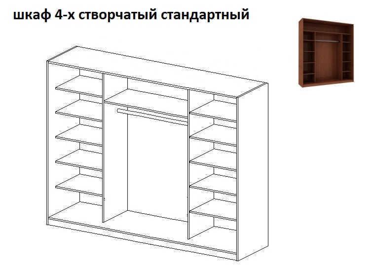 внутреннее наполнение 4-х створчатого шкафа